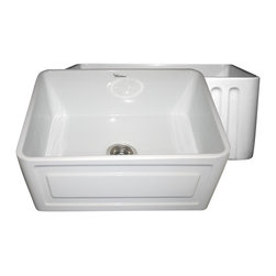 Whitehaus - Whitehaus Whflrpl2418-Biscuit Reversible Sink - Reversible series fireclay sink with a Raised Panel front apron on one side and fluted front apron on other