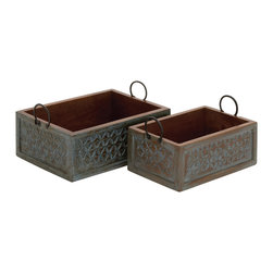 Unmissable, Set of 2 Wood Carved Organizer - Description: