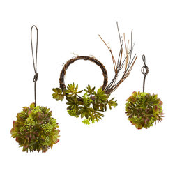Nearly Natural - Mixed Succulent Wreath & Spheres (Set of 3) - For those who can't decide what 'type' of succulent to get, why not get them all? This mixed set includes two succulent spheres one 5' and the other 7'), and a succulent wreath as well which measures 9'). This means you can have a cornucopia of 'succulent' decor, for as long as you wish (since these are faux, they never dry out.) Makes an ideal kitchen / dining room piece, and also makes a great gift.