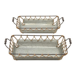 Well Designed Attractive Metal Rope Tray, Set of 2 - Description: