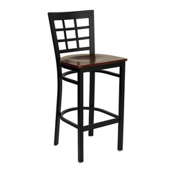 Flash Furniture - Hercules Series Black Window Back Metal Restaurant Bar Stool - This heavy duty commercial metal bar stool is ideal for Restaurants, Hotels, Bars, Pool Halls, Lounges, and in the Home. The lightweight design of the stool makes it easy to move around. The tubular foot rest not only supports your feet, but acts as an additional reinforcement that helps secure the legs. This stool will keep you comfortable with the easy to clean vinyl upholstered seat. You will not regret the purchase of this bar stool that is sure to complement any environment to fill the void in your decor.