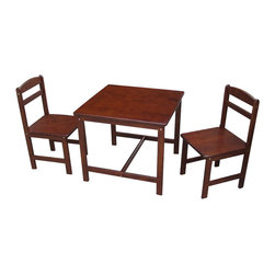 International Concepts - International Concepts 3 Piece Kids Table and Chair Set in Cottage Oak - International Concepts - Kids' Table & Chair Sets - JT482027 - This table and chair set from International Concepts will make the perfect activity center for your young ones.  It is composed of durable solid wood and includes one table and two chairs.