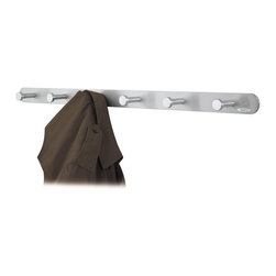 Safco - Safco Nail Head 6 Hook Coat Rack Hook (Set of 6) - Safco - Coat Racks - 4202 -These 6 hook coat hooks mount easily to a wall or behind a door and feature an attractive brushed aluminum finish. Oversized circular nail head hooks protect garments while keeping them in place. Mounting hardware is included.