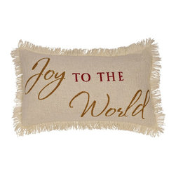 """VHC Brands - Cream Burlap Joy To The World Pillow - This pillow measures 7""""x13"""", front features the stenciled saying """"Joy To The World"""". Stencil is red & gold on a creme colored pillow. This pillow is 100% cotton woven burlap and is accented with fringe. Spot clean with a damp cloth."""