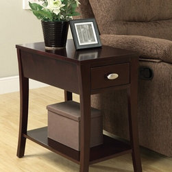 "Acme - Corin Espresso Finish Wood Chair Side End Table with Drawer and Curved Legs - Corin espresso finish wood chair side end table with drawer and curved legs. Measures 14"" x 22"" x 23"" H. Some assembly required."