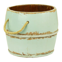 Antique Revival - Aqua Navarro Garden Bucket - This vintage, wooden kitchen bucket adds a fun, country touch to your existing decor. The lightly distressed, aqua paint brings in a splash of color, and the rope handle and iron banding add an old-fashioned vibe. This bucket works great both indoors and outdoors.
