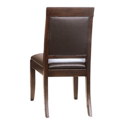 American Drew - American Drew Tribecca Upholstered Leather Side Chair-KD in Root Beer Color - The Tribecca mixes it up with modern, Art Deco, and Asian influences. Lighter scaled, with classic clean lines and pared down forms, Tribecca's inviting textures, rich wood tones and nickel finish hardware could be just the fresh look you've been trying to imagine for the new retirement condo on the shore or a trendy city loft.