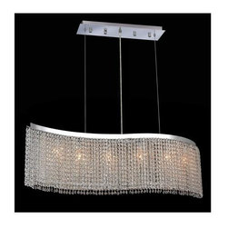 Elegant Lighting - Moda Clear Crystal Chandelier w 6 Lights in Chrome (Elegant Cut) - Choose Crystal: Elegant Cut. 6 ft. Chain/Wire Included. Bulbs not included. Crystal Color: Crystal (Clear). Chrome finish. Number of Bulbs: 6. Bulb Type: GU10. Bulb Wattage: 55. Max Wattage: 330. Voltage: 110V-125V. Assembly required. Meets UL & ULC Standards: Yes. 46 in. W x 9 in. D x 11 in. H (35lbs.)Description of Crystal trim:Royal Cut, a combination of high quality lead free machine cut and machine polished crystals & full-lead machined-cut crystals..SPECTRA Swarovski, this breed of crystal offers maximum optical quality and radiance. Machined cut and polished, a Swarovski technician¢s strict production demands are applied to this lead free, high quality crystal.Strass Swarovski is an exercise in technical perfection, Swarovski ELEMENTS crystal meets all standards of perfection. It is original, flawless and brilliant, possessing lead oxide in excess of 39%. Made in Austria, each facet is perfectly cut and polished by machine to maintain optical purity and consistency. An invisible coating is applied at the end of the process to make the crystal easier to clean. While available in clear it can be specially ordered in a variety of colors.Not all trims are available on all models.