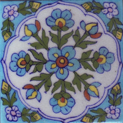 "Knobco - Tiles 4x4"", White tile with turquoise, yellow, green flowers - White tile with turquoise, yellow, green flowers and corner's design from Jaipur, India. Unique, hand painted tiles for your kitchen or other tiling project. Tile is 4x4"" in size."