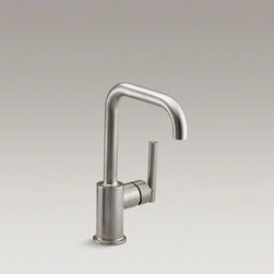 """KOHLER - KOHLER Purist(R) single-hole kitchen sink faucet with 6"""" spout - Designed to accommodate an extra-thick counter, this Purist bar sink faucet combines a strong architectural form and simple-to-use features. The high-arch swing spout maneuvers easily around large cookware, while the side lever handle controls temperature"""