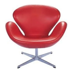 Fine Mod Imports - Arne Jacobsen Style Swan Chair in Red Italian Leather - This wonderful chair features a molded fiber glass frame, fire retardant polyurethane foam padding, and covered with soft Italian Leather.