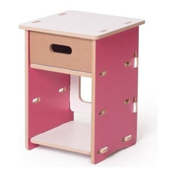 Sprout - Night Stand, Pink & White - The Sprout Night Stand is the perfect place for your little one to keep there closest possesions. The Sprout Night Stand includes a cardward drawer and additional open storage space below. The lower cubby is sized to fit a Sprout Cardboard Cubby Bine. Assembles quickly and simply with no tools or hardware.