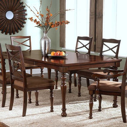 New Classic Furniture Town Creek Dining Collection - These Town Creek Dining Collection by New Classic will add a superlative look to your dining room. Stylish, beautiful and perfect for any contemporary style home decor. This dining tbale set is crafted with Tudor Brown Finish. With a wealth of earnest elegance, the New Classic Town Creek Dining Set is sure to provide your home with timeless appeal.