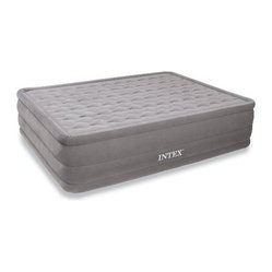 "Intex - Ultra Plush Airbed Kit Queen - Ultra Plush Airbed Kit  Queen Elevated with built-in 110-120V electric pump. 4 minute pump time. Quality tested 21.2 gauge waterproof flocked top and sides with 15 gauge vinyl bottom.  Flocked sleeping surface and sides for comfort and appearance.  Queen-sized mattress measures 60"" x 80"" x 18"" inflated.  Inflated bed fits standard sheets.  Bottom of the bed is contoured to provide extra gripping effect to increase stability.  Built-in electric pump for quick inflation and deflation.  Weight capacity 600 lbs.  Includes hand carry bag.  Shelf box with carry handle  This item cannot be shipped to APO/FPO addresses. Please accept our apologies."