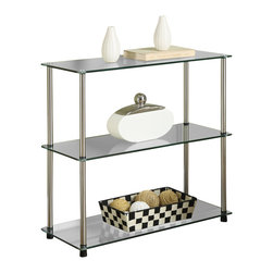 Convenience Concepts - Convenience Concepts 3 Shelf Bookcase X-200751 - Designs2Go&trade: Classic Glass 3 Tier Shelf Bookcase is the perfect complement to any living room d&#233:cor. Featuring an open modern design that provides 3 spacious glass shelves for decoration, collections or art objects. Surely will provide years of enjoyment