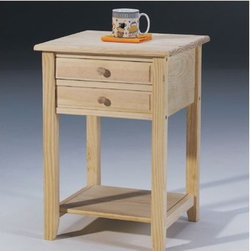 International Concepts - Wood End Table - This Rectangular Hall Table features a casual design and superior quality. Thanks to its ready-to-finish surface, you can customize it to perfectly fit your existing color scheme. With two working drawers and functional shelf below, this classic table will surely prove as practical as it is stylish. Features: -Constructed from parawood.-Ready-to-finish.-Unfinished Wood collection.-Collection: Unfinished Wood.-Distressed: No.Specifications: -2 Drawers.Dimensions: -Overall dimensions: 26'' H x 18'' W x 18'' D.-Overall Product Weight: 22 lbs.
