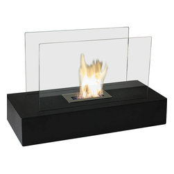 Bluworld Nu-Flame - Fiamme Indoor Freestanding Ethanol Fireplace - Fiamme is Italian for ���ablaze�. This floor fireplace makes a huge impact in any room. A black modern base supports two reflective glass panels. Warm and inviting, it will be the center of your get-togethers and conversations. Fiamme features a large capacity burner for extended enjoyment.  Easily adjust the flame height or extinguish it completely with the provided dampener tool. Fuel not included, we recommend using Nu-Flame Bio-Ethanol Fuel.  For indoor use only.