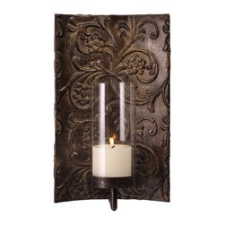 """IMAX - Galicia Embossed Metal and Glass Sconce - Melissa Vasquez designed traditional iron and glass wall sconce. Item Dimensions: (15.75""""h x 9""""w x 5.5"""")"""