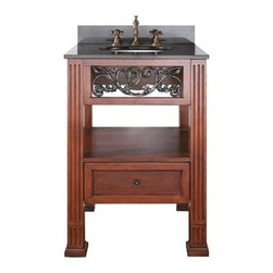 """Avanity - Avanity Napa 24"""" Single Bathroom Vanity with Countertop - Dark Cherry - The Napa Collection has a stunning traditional vine themed ironwork in a beautiful dark cherry finish. This vanity offers plenty of storage and has soft-close drawer glides. The 4"""" leg extension can be removed for a vessel application. A must is the beveled mirror with matching vine themed ironwork. Features 25""""W x 22""""D x 35""""H (with counter) 24""""W x 21.5""""D x 34""""H (no counter) Poplar solid wood and veneer in Dark Cherry finish Available with black granite, galala beige, white carrera countertop with white porcelain sink Cast iron inlays Antique brass finished hardware One soft-close drawer Adjustable height levelers Faucet not included How to handle your counter View Spec Sheet for vanity Natural stone like marble and granite, while otherwise durable, are vulnerable to staining from hair dye, ink, tea, coffee, oily materials such as hand cream or milk, and can be etched by acidic substances such as alcohol and soft drinks. Please protect your countertop and/or sink by avoiding contact with these substances. For more information, please review our """"Marble & Granite Care"""" guide."""