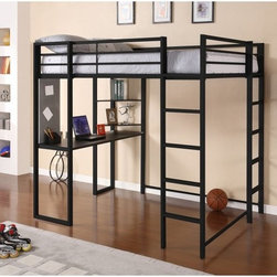 Dorel Home - DHP Abode Full Loft Bed - Black - 5457196 - Shop for Bunk Beds from Hayneedle.com! A great way to save space and give your child a place to study and do homework the DHP Abode Full Loft Bed - Black is a strong and durable loft bed made out of quality metal and finished in classic black. Designed with black shelves and a desk your child will have more than enough space to store their books laptop and more. Made to meet ASTM and CPC safety specifications this loft bed has two built-in ladders and a guardrail for added safety. A great size for your tween this loft bed accommodates a full-sized mattress so he or she will have more than enough space for sleeping as well as working.Additional FeaturesNo box spring requiredIncludes desk and shelves for versatilityGuardrails for added safelyDesigned for smaller spacesSome assembly requiredDurable construction designed to lastAbout Dorel IndustriesFounded in 1962 Dorel Industries is a family of over 26 brands including bicycle brands Schwinn and Mongoose baby lines Safety 1st and Quinny as well as home furnishing brands Ameriwood and Altra Furniture. Their home furnishing division specializes in ready-to-assemble pieces including futons microwave stands ladders and more. Employing over 4 500 people in 17 countries and over four continents Dorel is renowned for their product diversity and exceptionally strong commitment to quality.