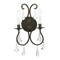 Crystorama Lighting Group - Crystorama Lighting Group 5012 Ashton 2 Light Double Wall Sconce with Clear Hand - Crystal 2 Light Up Lighting Wall Sconce with Crystal Options from the Ashton CollectionAshton Collection sconce by Crystorama offers a combination of an English Bronze and Old Silver finishes with hand cut crystal.Features: