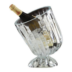 Optical Illusion Slanted Wine Chiller - From white zin to a crisp pinot noir, many wines should be chilled. What better way to chill your wines than this Clear Glass Slanted Wine chiller? Your guests will enjoy its clever slanted design, and you can rest easy knowing this wine chiller is crafted from natural materials and ships in recyclable packaging to ease strain on the environment. Treat yourself to a glass of wine for being environmentally-friendly. You deserve it.
