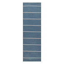 Jaipur Rugs - Flat Weave Stripe Pattern Blue Wool Handmade Rug - CC09, 2.6x8 - Fashion-forward color and a soft texture highlight the relaxed sophistication of the Coastal Living Dhurries Collection. Ideal for any casual lifestyle, the boldly striped, flat-woven pieces are easily cleaned - ideal for lounging after a day spent at the beach.