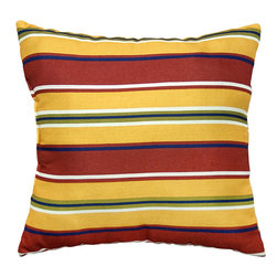 None - 17-inch Outdoor Carnival Square Accent Pillow (Set of 2) - Add a touch of contemporary style and comfort to your outdoor furnishings with these accent pillows. These pillows are overstuffed with a soft 100-percent polyester fill and have a durable weather resistant and UV protected cover.
