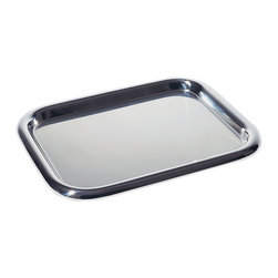 Alessi - Alessi Rectangular Tray - Add glamour to your tablescape with this chic tray. Designed by Ettore Sottsass, the stainless steel finish is highlighted by the elegant curves of the mirror polished edge.