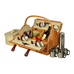 Picnic At Ascot - Yorkshire Picnic Basket for Four with Coffee Set, Wicker/Sc Stripe - Unique hand crafted deluxe picnic basket in full reed willow with attractive dome top shape & top carry handle.  Includes a premium picnic set for four with ceramic plates, matching cotton napkins, glass wine glasses, stainless steel flatware, corkscrew, and no spill salt & pepper shakers. Also includes a convenient food cooler and coffee set with stainless steel coffee flask and mugs.