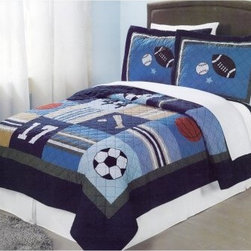 Pem America All State Quilt Mini Set - Kick off your decorating with a killer starting line-up featuring the Pem America All State Quilt Mini Set. Pleasant classic colors such as beige forest green and navy highlight images of sports paraphernalia such as baseballs basketballs soccer balls and of course footballs. The patches are blocked with imagery as well as fun decorative patterns to make this quilt visually appealing. Constructed of a tenacious 80/20 blend of cotton and polyester this set is not only nice and cozy it will also stay in great shape for years to come. Quilt comes with one to two matching pillow shams depending on the size ordered. Think the set needs a time-out for a washing? No problem - it's totally machine washable. Score!Bedding Set ComponentsTwin: quilt 1 pillow shamFull/Queen: quilt 2 pillow shamsAbout Pem AmericaMakers of high quality handcrafted textiles Pem America Outlet specializes in bedding that enhances your comfort and emphasizes the importance of a good night's rest. Quilts comforters pillows and other items for the bedroom are made with care and craftsmanship by Pem America. Their products cover a wide range of materials styles colors and designs all made with long-lasting quality construction and soft long-wearing materials. Details like fine stitching embroidery and crochet decorations and reinforced seaming make Pem America bedding comfortable and just right for you and your family.