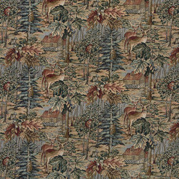 Wilderness Deer Cabins Trees Leaves Theme Tapestry Upholstery Fabric By The Yard - P1610 is an upholstery grade tapestry novelty fabric. This fabric is excellent for cabins, lodges, homes and commercial uses.