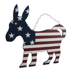 Zeckos - Whimsical American Flag Wooden Donkey Wall Hanging - This fun and whimsical Americana art looks amazing hanging in any home or office It's made from printed pressed wood, and features a whimsical bottle cap eye, and hangs from the curled wire hanger attached at the top. It measures 19 1/2 inches (50 cm) high, 18 7/8 inches (48 cm) wide and .5 inch (1 cm) deep. The edges have been lightly weathered giving it even more character, and would look amazing in a dining room, family room, or on a covered porch, and makes a wonderful gift for a flag waving, animal loving friend