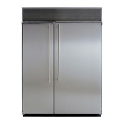 """Marvel - M60CSSWP 60"""" Side-by-Side Double Cabinet Refrigerator  with Full Extension Glide - Each of MARVELs side-by-side refrigeratorfreezers displays our commitment to superior construction choice and capacity Interiors are solidly built in your choice of arctic white aluminum or gleaming stainless steel All products are frost-free and hav..."""