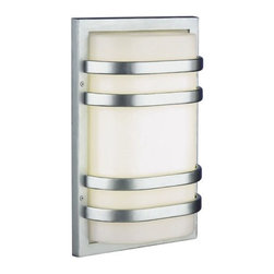 """Philips Forecast Lighting - Westport Outdoor Wall Fixture in Vista Silver - Engery Smart - The Westport Collection's outdoor wall fixtures looks as if a traditional exterior light was taken and mixed with contemporary features. This wall light comes in a vista silver finish; giving this outdoor fixture the capability of looking great on any type of house. The design of the bands curving around the acrylic diffuser gives the piece its overall modern flair. Features: -This item is an energy efficient product -Two light outdoor wall fixture -Westport Collection -Vista silver finish -Acrylic diffuser -Available in small and large sizes -Small fixture uses two 18W twin tube compact fluorescent (4 pin 2G11 base) bulbs - not included -Large fixture uses two 36 or 39W twin tube compact fluorescent (4 pin 2G11 base) bulbs - not included -120V electronic ballast (standard) -Wet location listed -Energy Smart fixture -Small fixture is ADA compliant -Overall dimensions, small: 14.5""""H x 10""""W x 4""""D -Overall dimensions, large: 22""""H x 14""""W x 5.5""""D"""
