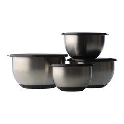 Berghoff - Berghoff Geminis 8 pc Mixing Bowl Set - Set includes:1.6 qt mixing bowl with lid, 2.1 qt mixing bowl with lid, 3.1 qt mixing bowl with lid, and 4.8 qt mixing bowl with lid. Anti-skid base.