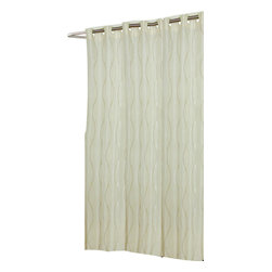 "Extra Long, EZ-ON ""Bristol"" Polyester Shower Curtain - ""Ez On"" Fabric shower curtain with built in shower curtain hooks: extra long size 70"" wide x 84"" long; pattern name ""Birstol"", color Ivory. Rejuvinate your bathroom without any added frustration with our Extra Long (70'' wide x 84'' long) EZ-ON ""Bristol"" Shower Curtain. Using patented Hookless technology, our EZ-ON curtains come with built in flat top rings that simply snap on to your existing shower curtain rod--pesky hooks no longer required. Additionally, this 100% polyester curtain resists water and is machine washable. ""Bristol"" is also available in standard, extra wide, and shower stall sizes.   Machine wash in warm water, tumble dry, low, light iron as needed"