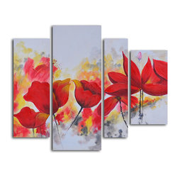 My Art Outlet - 'Enflamed red petals' 4-piece Oil Painting - Artist: UnknownTitle: Enflamed Red PetalsProduct type: Oil painting