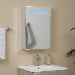 Brilliant Aluminum Medicine Cabinet with Lighted Mirror - The Brilliant Aluminum Medicine Cabinet is a perfect way to provide your bathroom with extra light while being gentle on your eyes. This cabinet features a double-sided LED lighted mirrored door that opens to reveal another mirror behind two adjustable glass shelves.