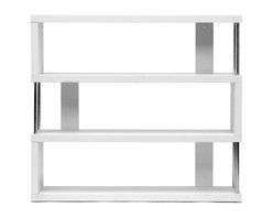 Baxton Studio - Baxton Studio Barnes White Three-Shelf Modern Bookcase - This artsy, modern bookcase gets you organized with style. Our Barnes Bookcase is made of white paper veneer over an engineered wood frame and features chromed steel side supports. Not only does this modern display shelf house books, but it is also the perfect place to show off your prized vases, decor, and home accents. The Barnes Bookcase is Malaysian-made, requires assembly, and should be dusted with a dry cloth. Separately offered is the Barnes Bookcase with six shelves as well as the Barnes Bookcase in brown.