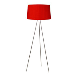 Weegee Floor Lamp, Red-Orange Mumm on Silk Shade