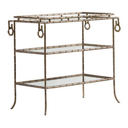 Bamboo Server - Sleek steel and antique mirror combine in this super elegant chinoiserie bar. Faux bamboo is finished in Venetian gold for a stunning statement piece.