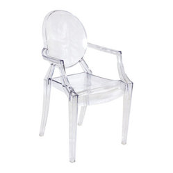 "Clear ""Ghost""  Acrylic Arm Chair - Clear ""Ghost"" Arm Chair. Made of acrylic material. Dimensions :22 x 21 x 36. Weight: 21 lbs"