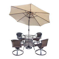 Oakland Living - 7-Pc Outdoor Dining Set - Includes table, four swivel chairs, 9 in. tilt crank umbrella with stand and metal hardware. Fade, chip and crack resistant. Traditional lattice weave pattern. Durable resin wicker. Warranty: One year limited. Made from resin wicker and steel. Black color. Minimal assembly required. Table: 42 in. Dia. x 29 in. H. Swivel chair: 23.25 in. W x 25.5 in. D x 34 in. H (24 lbs.)The Oakland Tuscany Resin Wicker Collection combines style and modern designs giving you a rich addition to any outdoor setting. Adds beauty, style and functionality to your home, garden or back yard patio. Ideal for indoors or out.