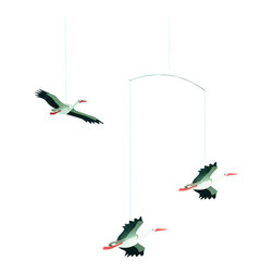 Flensted Mobiles - Danish Lucky Storks Mobile - Celebrate the arrival of a very special someone with this lucky stork mobile. It's also a thoughtful gift to send to an expectant mother. The faintest puff of air will send them on a delivery of the most important kind!\
