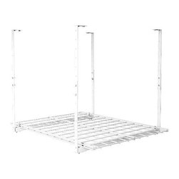 "HyLoft - HyLoft 27"" x 36"" Ceiling Storage Rack - The HyLoft Junior 27 by 36-inch unit is made of strong, durable steel with a scratch resistant finish, and each unit holds up to 150 pounds. The height is adjustable from 15 to 28 inches so you can custom fit it to a variety of spaces, and multiple units can be connected to create a contiguous storage area. The open grate design allows you to see what's stored above. Installation is simple-you can do it by yourself in about 15 minutes."