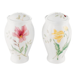 Lenox - Lenox Butterfly Meadow Salt & Pepper Shakers - Colorful garden flowers and ladybugs grace these Butterfly Meadow salt and pepper shakers from Lenox, evoking the beauty of butterfly meadows. Nature's pastel hues provide a lovely accent for casual table decor.
