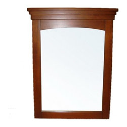 "Simpli Home - 20"" x 30"" Yorkville Vanity Mirror - The Simpli Home 20"" x 30"" Yorkville Vanity Mirror is designed to match our Yorkville Collection Vanities. The mirror matches the classic style of the collection and is finished in a warm cinnamon brown finish. Features: -Mirror. -Warm Cinnamon Brown finish. -Hanging hardware included. -Bathroom vanity mirror. -Solid wood frame with bevel glass. Specifications: -Dimensions: 1.5"" H x 20"" W x 30"" D."