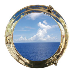 Handcrafted Nautical Decor - Deluxe Class Brass Porthole Window 20'' - This Deluxe Class Brass  Porthole    Window 20''  adds sophistication, style, and charm for those        looking  to   enhance       rooms with a nautical theme. This boat       porthole   has a   sturdy,  heavy and      authentic appearance,  and can easily be hung to grace any    nautical    theme wall. Our  nautical   porthole window     makes  a   fabulous style    statement in  any room  with    its classic  round        frame, twelve    metal-like  rivets and two  dog  ears.   This marine    porthole mirror        has  an 14'diameter and 3'deep when dog-ears  are   attached, 1.5'' deep     without dog ears   attached.----Dimensions: 20'Long x 3'Wide x 20'High--NOTE: This is a decorative porthole window (the     center is clear glass which can be left in port hole or taken out).     Mounting hardware not included with purchase.----    Functional porthole window that will open and close by loosening dog ears--    --    Handcrafted from solid brass by our master artisans --    --    Decorative yet fully functional port hole window decoration--    Realistic nautical decor - modeled after an antique 19th-century ship's porthole--    --    Great porthole wall decor and an instant conversation piece--