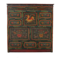 Golden Lotus - Chinese Deer Flower Accent Multi-Storage Cabinet - This is decorative mid-tall cabinet in colorful Tibetan animal and flower graphic. There are three sides finish with motif. The greenish bamboo like rim outlines the accent to the cabinet. The combination of drawers and shelves is good for accessories storage.